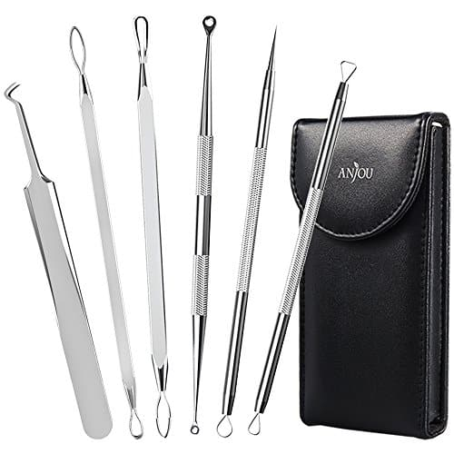 Anjou Blackhead Remover Comedone Extractor, Curved Blackhead Tweezers, 6-in-1 Professional Stainless Pimple Acne Blemish Removal Tool Set