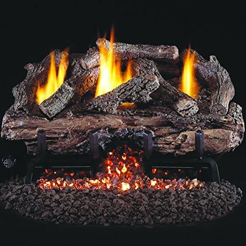 Peterson Real Fyre 24-inch Charred Aged Split Oak Log Set With Vent-free Natural Gas Ansi Certified G10 Burner