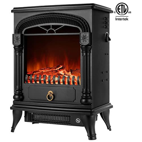 VIVOHOME 110V 20 Inch Portable Free Standing Electric Fireplace Insert Stove Heater with Realistic Log Flame Effect